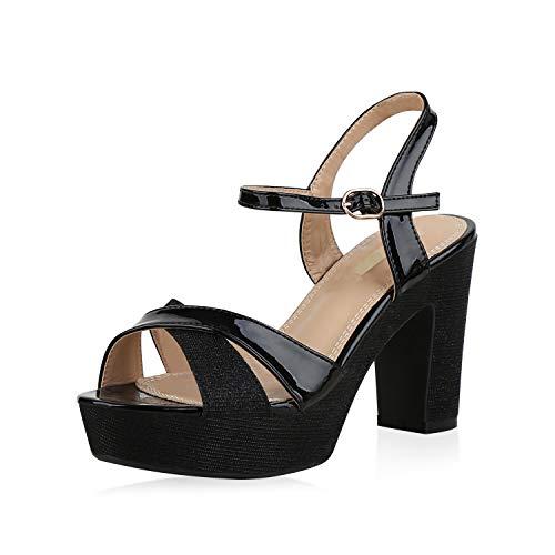 SCARPE VITA Damen Plateau Sandaletten Glitzer High Heels Metallic Party Schuhe 173350 Schwarz 38