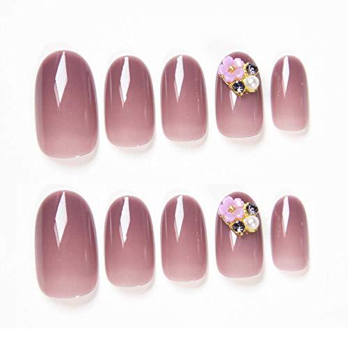 CLOAAE 24pcs / box detachable hand fake nail senior summer ice transparent crystal grape purple flower decoration nails and