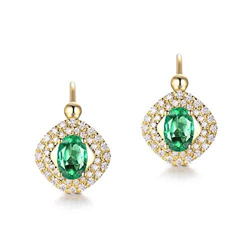 ANAZOZ Pendientes Mujer Esmeralda,Pendientes Oro Amarillo 18 Kilates Mujer Oro Verde Cuadrado Hueco con Oval Esmeralda Verde 1ct Diamante 0.4ct