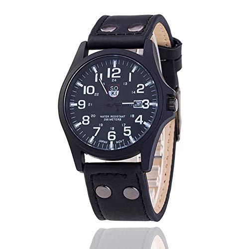 RONSHIN Horloges, Mannen Horloge Lederen Band Horloges Sport Quartz Militaire Horloge Geschenken Verjaardag verjaardag