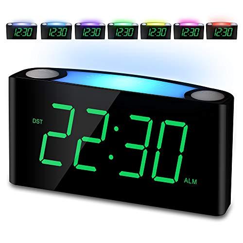 """Mesqool Nachtlicht Wecker,Reisewecker,LauterAlarmPlug-in-Uhr,7"""" Digital LED-Anzeige, GroßFarbigesNachtlicht,Helligkeitsregler & Alarm Lautstärke Regelbar,12/24H,2USB-Stromanschluss,Snooze"""