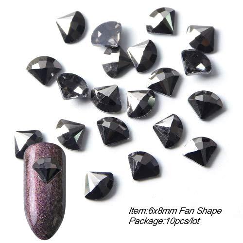 Meiyy 10 stuks zwarte strass-stenen voor nail art, hart, waterbestendig, kristallen stenen op de achterkant, platte ontwerpen voor nagels en sierstenen 6x8mm Fan Shape
