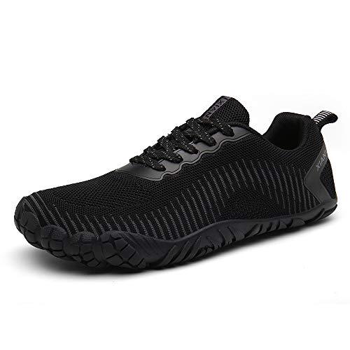 XIANV Men Women Minimalist Trail Running Barefoot Shoes Gym Walking Lightweight Hiking Beach Water Shoes Athletic Slip-On Shoes (6.5, Black)