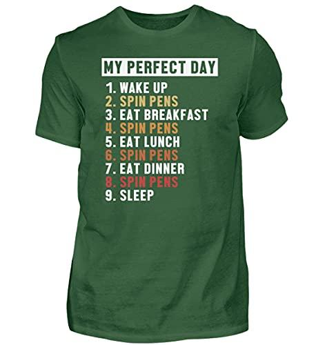 Camiseta para hombre Pen Spinning Thumbaround | 01488, Verde botella., XXXXXL