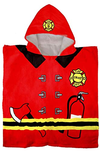 Jay Franco Trend Collector Fire Fighter Kids Bath/Pool/Beach Hooded Poncho Towel - Super Soft & Absorbent Cotton Towel - Measures 22 x 22 Inches