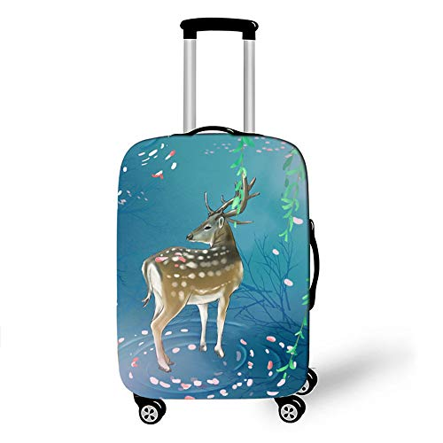 Elastic Luggage Cover, CNNINHAO 3D Print Trolley Case Protective Travel Suitcase Anti Scratch Dustproof Resistant Case Trolley Skin Protector Elasticized Washable (Deer 2,XL (30-32inch))