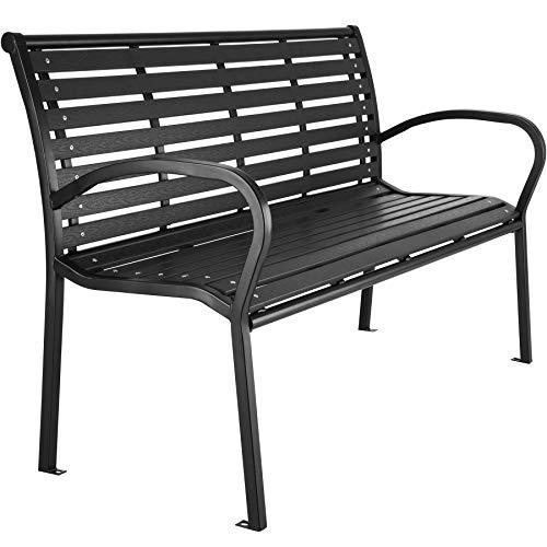 TecTake 403213 Banc de Jardin d'extérieur Design en Fibres de Bois, Cadre en métal, 126 cm x 62 cm x 81,5 cm, Noir