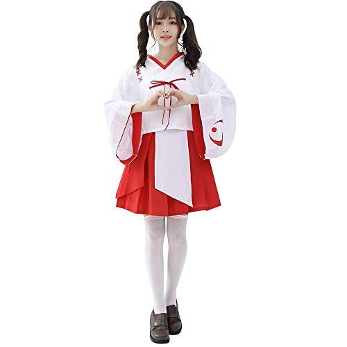 Anime Japons Vestido Nias Rojo Blanco Cinta Kimono Mujeres Anime Inuyasha Cosplay Lolita Costume Halloween Fiesta Disfraz