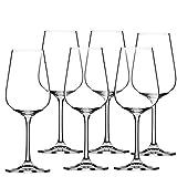 KADAX Copas de vino blanco de cristal, juego de 6, 360 ml, copas de vino con tallo largo, elegantes y sencillas para el hogar, fiestas