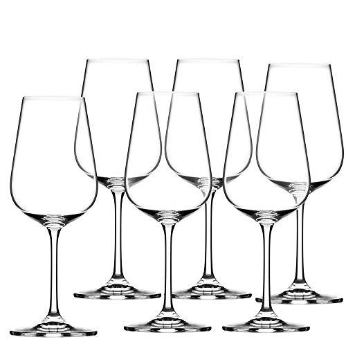 KADAX Weißweingläser aus Kristallglas, 6er Set, 360ml, Weingläser mit langem Stiel, Elegante und Schlichte Weißweinkelche für zu Hause, Party, hochwertige Qualität