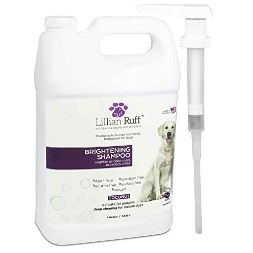 Lillian Ruff Brightening & Whitening Shampoo for Dogs – Tear Free Coconut Scent with Aloe for Normal, Dry & Sensitive Skin – Adds Shine & Luster to Coats (1 Gallon with Pump)
