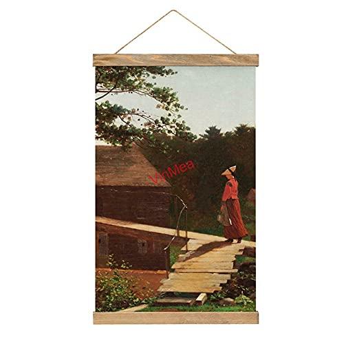 Lienzo colgante de pared Old Mill, The Morning Bell con percha de madera de teca para decoración de pared