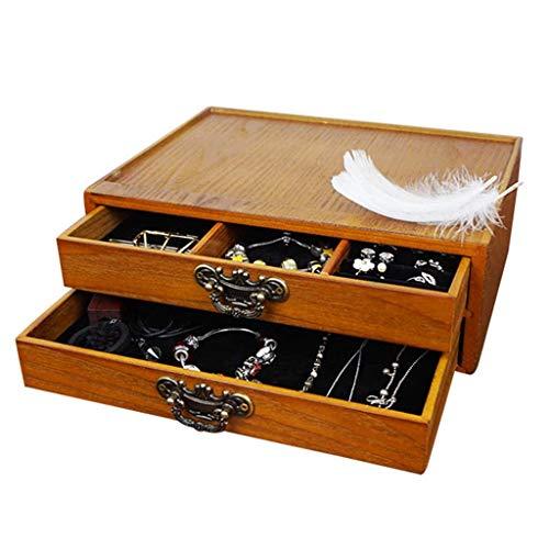 ZXL Houten Cosmetische opbergdoos met drie lades Tafel Dressing Desktop Sieraden Huidverzorging Stof 92 * 195 * 260mm