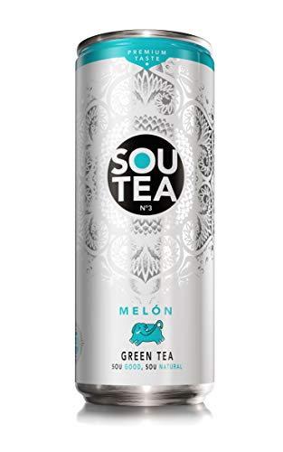 Sou Tea Refresco de té verde natural con zumo, Melón - 33cl [Pack de 24]
