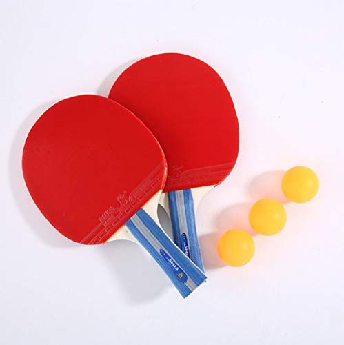 TOHOYOK Tabla Raqueta de Tenis, Ping-Pong Principiante Conjunto de paletas, 2 Raquetas de Tenis de Mesa y 3 Bolas, Ideal for Principiantes y la formación o los niños