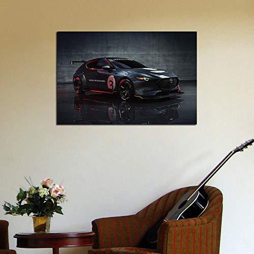 VVSUN Mazda 3 TCR Cars Arte de Pared Moderno Lienzo Pintura Carteles e Impresiones Cuadro de Pared para decoración de Sala de Estar 60X90cm 24x36 Pulgadas sin Marco