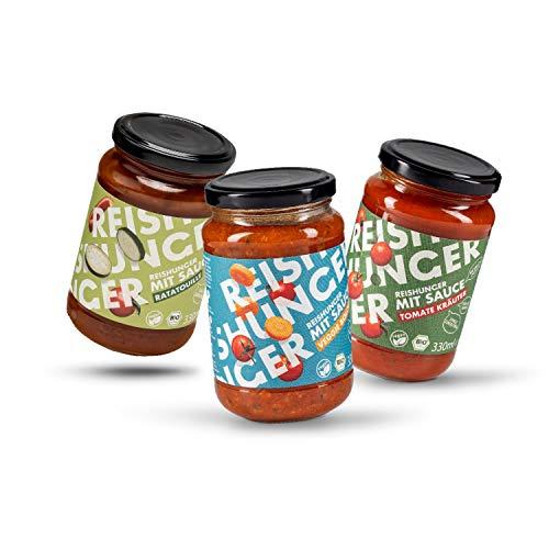 Reishunger mit Sauce BIO Veganes Mediterranes 6er Saucen Probier Set (6 x 330ml) - 3 leckere Sorten: Ratatouille, Tomate Kräuter, Veggie Bolognese - Auch im 3er Set verfügbar