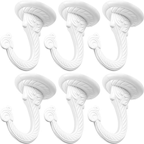 6 Pieces Ceiling Hooks Heavy Duty Swag Hook Hanging Plants Chandeliers Wind Chimes Ornament Hooks for Home Office Kitchen (White)