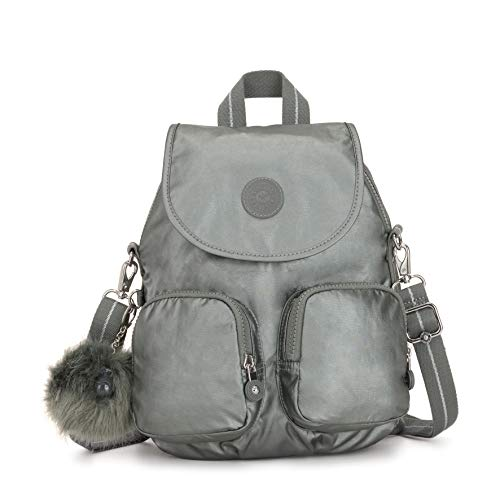 Kipling Damen Firefly Up Rucksack, Grau (Metallic Stony), 22x31x14 centimeters