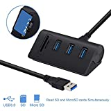 Alcey Aluminium Bus- angetrieben USB 3.0 3-Port nabe mit 2-Steckplätzen kartenleser Combo für...