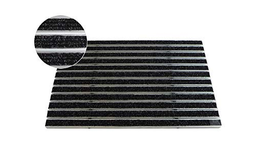 EMCO Eingangsmatte DIPLOMAT Rips anthrazit 12mm Fußmatte Schmutzfangmatte Fußabtreter Antirutschmatte, Größe:990 x 490 mm