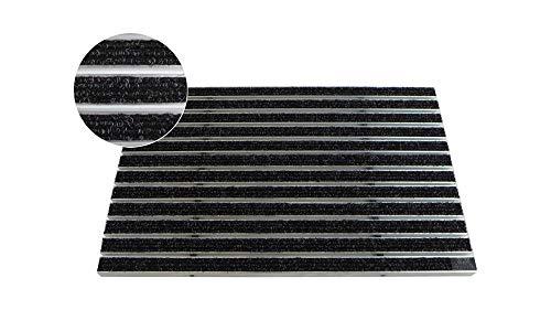 EMCO Eingangsmatte DIPLOMAT Rips anthrazit 12mm Fußmatte Schmutzfangmatte Fußabtreter Antirutschmatte, Größe:740 x 490 mm