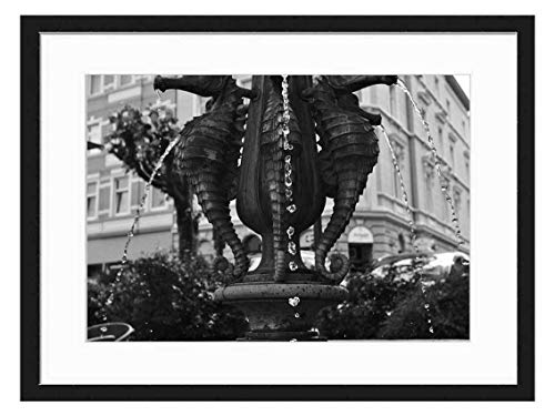 Wood Framed Canvas Artwork Home Decore Wall Art (Black White 20x14 inch) - Fountain Seahorse Architecture Decoration Water