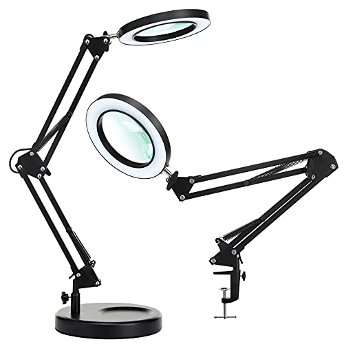 NUEYiO 2-in-1 Magnifying Glass with Light and Stand, 4.1 Inches 2.25X Real Glass Lens, 3 Color Modes, 10 Brightness Levels, Magnifying Desk Lamp for Reading, Repair, Crafts, Close Works - Black