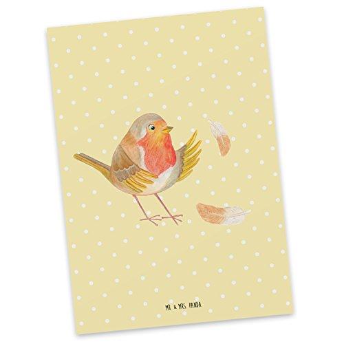 Mr. & Mrs. Panda cadeaubon, uitnodiging, Ansichtkaart Roodborstje met veren - Kleur Gele pastel