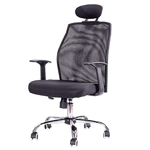Office Chair Mesh Computer Stoel middenachter Swivel lendensteun Desk bureaustoel Ergonomische Uitvoerende Stoel met armleuningen en dikke Seat (zwart)