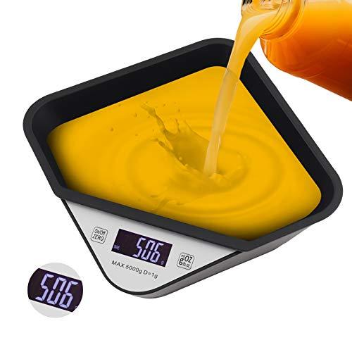 Yideng Báscula Digital para Cocina, Escala de Peso de Alta Precisión con Cuenco Desmontable, Báscula de Alimentos Electrónica para cocinar y Hornear 5 kg (Batería No Incluida)