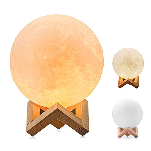 3D Printing Moon Lamp,Mayround 10cm/3.9 Inch Full Moon Lamp Lighting LED Night Light Modern Lamp [Touch Control][USB Rechargeable][Free Wooden Stand] Home Decorative Lamp Gift for Kids,Children
