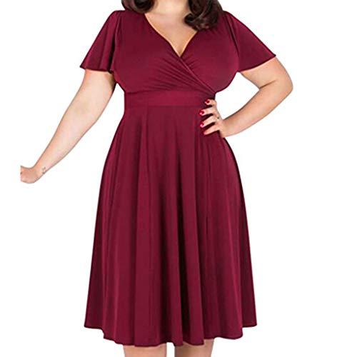 Auifor Dames met V-hals, elegante jurk met tailleband en grote jurk.