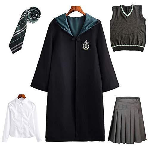 FStory&Winyee Harry Potter Kostüm Kinder Erwachsene Umhang Damen Gryffindor Hufflepuff Ravenclaw Slytherin Fanartikel Fasching Outfit Set Cape,Krawatte,Hemd,Rock,Weste