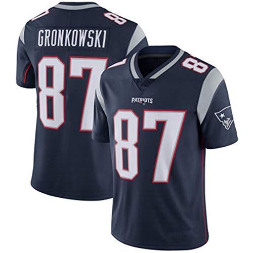 YDYL-LI American Football New England Patriots # 87 Rob Gronkowski Fans - Trikot Atmungsaktiv - Entspannt Und Komfortabel T-Shirt - Sweatshirt, Dunkelblau - Spleißen,XL