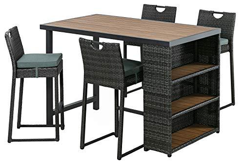 Dehner Barset Cuba, 5-teilig,Aluminium/Kunststoff/Polyester/Polywood, grau/braun/grün