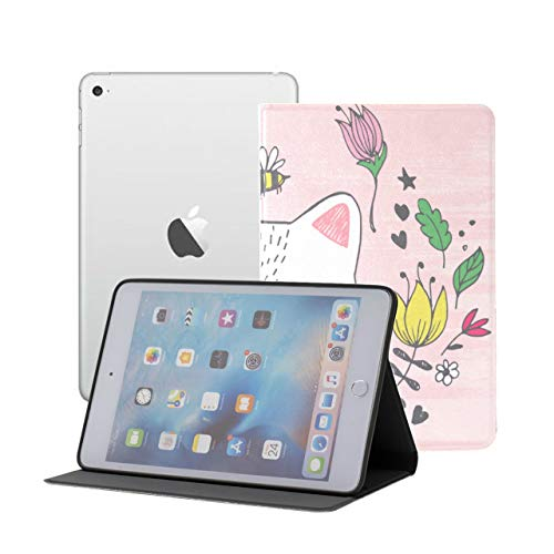 iPad Mini 1/2/3 Case - 360 Degree Rotating Stand Smart Cover Case with Auto Sleep Wake Feature,Cute Kawaii Cat Face Bee Flowers