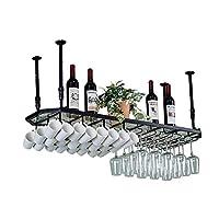 HLL ワインラック、ノルディック鍛造鉄ワインカップゴブレットホルダー逆さまのバー装飾吊り下げラック - 4サイズ,ブラック,L-120Cm