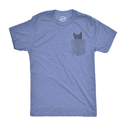 Mens Pocket Cat T Shirt Funny Printed Peeking Pet Kitten Animal Tee for Guys (Heather Light Blue) - M
