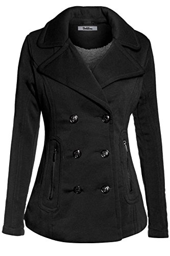 BodiLove Women's Stylish and Warm Peacoat with Sherpa Lining Black L