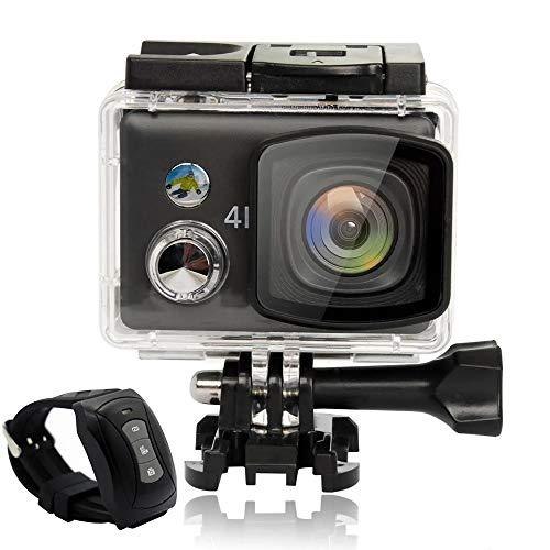 Ramingt-Home Actionkameras Wasserdicht 4K WiFi 2.5D Retina Touch Screen FPV-Sport-Kamera-Fernbedienung WiFi Ultra HD (Color : Black, Size : One Size)