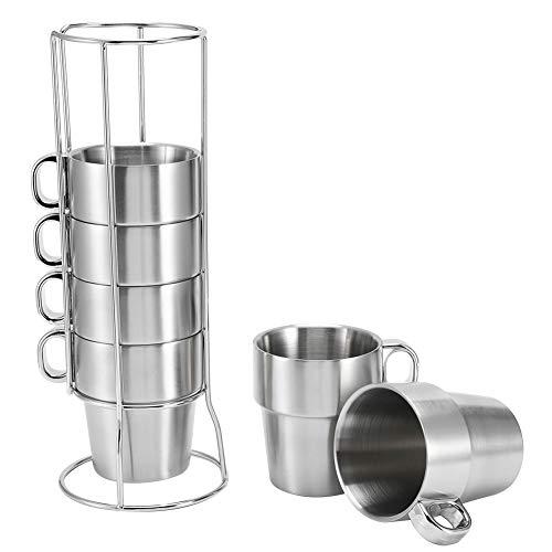 Edelstahl Wasser Kaffeetasse Set Wärmeisolierte Verbrühschutz mit Tassenhalter Stand Espressotasse Cappuccino Kaffee Latte Teetasse Espressotasse für Zuhause, Büro, Party