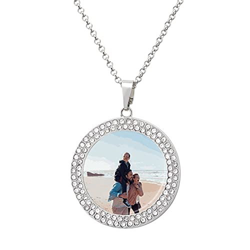 Personalized color printed diamond necklace,Custom image customization, the best choice for a loved one
