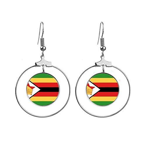 Zimbabwe Nationale Vlag Afrika Land Oorbellen Dangle Hoop Sieraden Drop Cirkel
