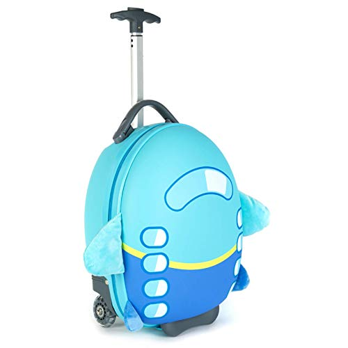 Boppi Tiny Trekker Kids Luggage Travel Suitcase Carry On Cabin Bag Holiday Pull Along Trolley Lighweight Wheeled Holdall 17 Litre Hand Case - Aeroplane