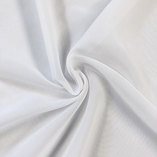 """Solid Chiffon Fabric Polyester Dress Sheer 58"""" Wide by The Yard All Colors (10 Yard, White)"""