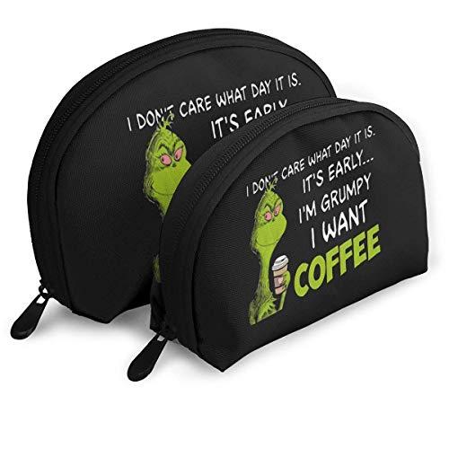 JUKIL Ita € s Early Ia € m Grumpy Ich möchte Kaffee Tragbare Taschen Clutch Pouch Reißverschluss Shell Make-up Aufbewahrungstasche 2 Stück Körperpflegetaschen Kosmetiktasche