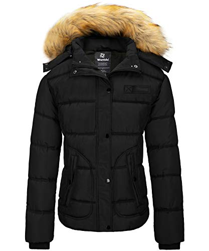 Wantdo Womens Water Resistant Thicken Winter Puffer Coat with Hood Black X-Large