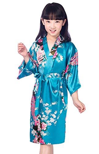 HonourSport Mädchen Morgenmantel Kimono Satin Seide Roben Kurze Blumen Muster, Blau, Tag 14/(11-12 Tahre)