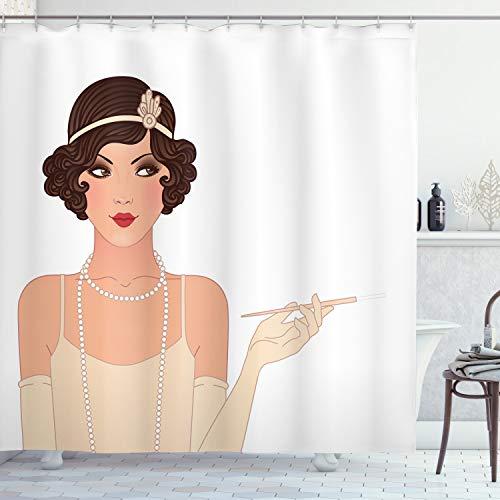 ABAKUHAUS Pin up Girl Duschvorhang, Eine Bezaubernde Dame, mit 12 Ringe Set Wasserdicht Stielvoll Modern Farbfest & Schimmel Resistent, 175x200 cm, Heller Pfirsich Schokolade & Lachs